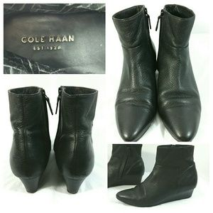Cole Haan Tali Luxe Black Leather Bootie Shoes